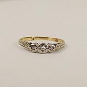9ct Yellow Gold Diamond Ring UK Size G US 3 ¼