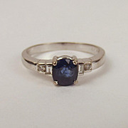 18ct White Gold Sapphire & Diamond Ring UK Size P+ US 7 ¾