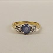 18ct Yellow Gold Sapphire & Diamond Ring UK Size K+ US 5 ½