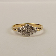 18ct Yellow Gold Diamond Flower Head Ring UK Size K US 5 ¼