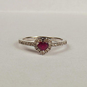 18ct White Gold Ruby & Diamond Heart Shaped Ring UK Size P+ US 7 ¾