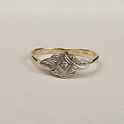 9ct Yellow Gold & Palladium Diamond Ring UK Size P+ US 7 ¾