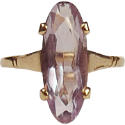 9ct Yellow Gold Amethyst Ring UK Size P+ US 7 ¾