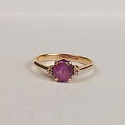 14ct Yellow Gold Diamond & Ruby Ring UK Size O+ US 7 ¼