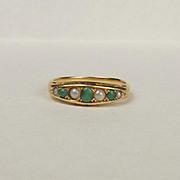9ct Yellow Gold Pearl & Turquoise Ring UK Size N+ US 6 ¾