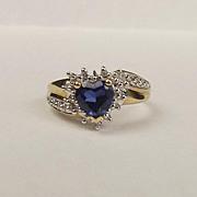 9ct Yellow Gold Sapphire & Diamond Ring UK Size J+ US 5