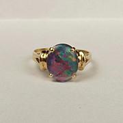 14ct Yellow Gold Opal Ring UK Size O+ US 7 ¼