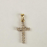 18ct Yellow Gold & Diamond Cross Pendant