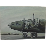 Oil On Canvas Painting Of A Boeing B-17 Flying Fortress