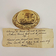 Circa 1830s Love Token Snuff Box & Love Letter