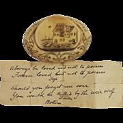 Circa 1830s Love Token Snuff Box & Love Letter