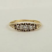 18ct Yellow Gold Five Stone Diamond Ring UK Size Q+ US 8 ¼