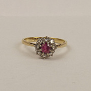 18ct Yellow Gold Ruby & Diamond Flower Head Ring UK Size Q US 8