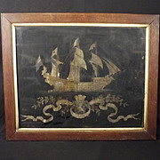 Framed French Silk-work Picture Of East India Co. c18th Century