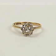 9ct Yellow Gold Quartz Flower Head Ring UK Size N+ US  6 ¾
