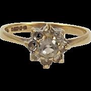 9ct Yellow Gold Quartz Flower Head Ring UK Size N+ US  6 ¾