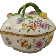 Late 19th Century German Dresden Porcelain Bowl With Cover By Carl Thieme