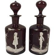 Pair Of Small Mary Gregory Style Cranberry Glass Decanters