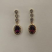Pair Of 9ct Yellow Gold Garnet & Diamond Earrings