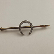 9ct Yellow Gold & Diamond Horseshoe Bar Brooch
