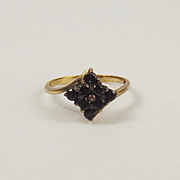 9ct Yellow Gold Garnet Cluster Ring UK Size N+ US 6 ¾
