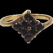 9ct Yellow Gold Garnet Cluster Ring UK Size N+ US 6 ¾