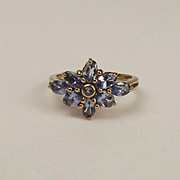 9ct Yellow Gold Iolite Flower Head Ring UK Size N+ US 6 ¾