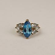 9ct Yellow Gold London Blue Topaz & Aquamarine Ring UK Size R US 8 ½