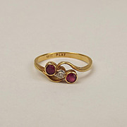 18ct Yellow Gold Ruby & Diamond Ring UK Size K US 5 ¼