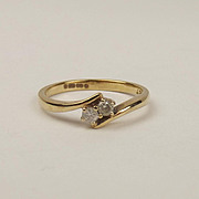 9ct Yellow Gold Diamond Ring UK Size N US 6 ½