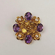 18ct Yellow Gold Amethyst & Pearl Brooch