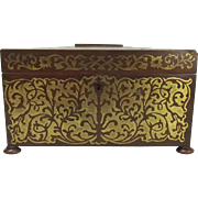 Regency Rosewood And Brass Boulle Work Tea Caddy