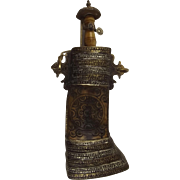 19th Century Large Indopersian White Metal Embossed Flask