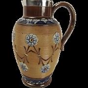 Silver Rimmed Doulton Lambeth Stoneware Pottery Jug c1897