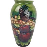 Moorcroft Finches Pattern Vase 1991