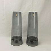 Pair Of Whitefriars Glass Candle Holders