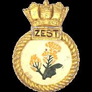 WW2 HMS Zest Aluminium Z Class Destroyer Ships Mess Badge