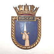 HMS Mackay, Ships Crest – Bronze Copy Screen Badge - Unmounted