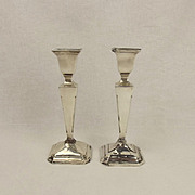 Pair Of Small Silver Candlesticks Birmingham 1915
