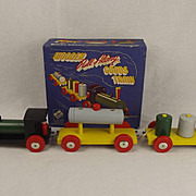 Boxed Codeg Wooden Pull Along Toy Train c1950