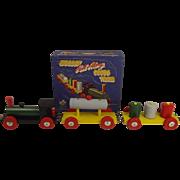 Boxed Codeg Wooden Pull Along Toy Train c1950