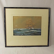 c1929 Wilfred Knox 'On Into The Night' Watercolour Of A Clipper