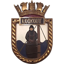 HMS Lookout, Bronze Ships Crest – Screen Badge - Unmounted
