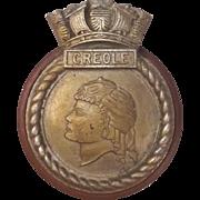 HMS Creole, Aluminium Ships Crest – Mess Badge - Mounted