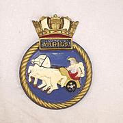 HMS Auriga, Aluminium Ships Crest – Mess Plaque - Unmounted