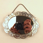 Small Silver Mirror With Chain