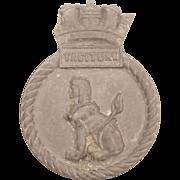 WW2 HMS Taciturn Submarine, Aluminium Ships Crest – Mess Badge - Unmounted