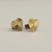 Pair Of 9ct Yellow Gold Love-Heart Stud Earrings