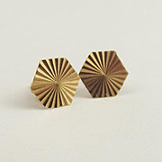 Pair Of 9ct Yellow Gold Hexagon Stud Earrings