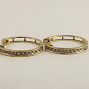 Pair Of 9ct Yellow Gold & 0.5 CTW Diamond Hoop Earrings